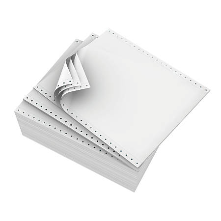 "Domtar Continuous Form Paper, 9 1/2"" x 11"", 3-Part Carbonless, White, Pack Of 1,200 Sheets"
