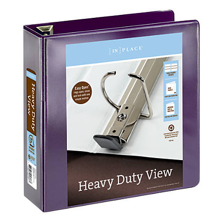 """Office Depot® Brand Heavy-Duty D-Ring View Binder, 3"""" Rings, 54% Recycled, Purple"""