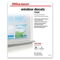 Office Depot Brand Inkjet Window Decals Matte X Pack Of - Office depot window decals template