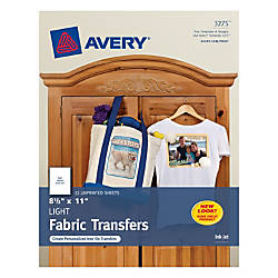 Avery inkjet printer t shirt transfer paper 8 12 x 11 pack for Office depot shirt printing