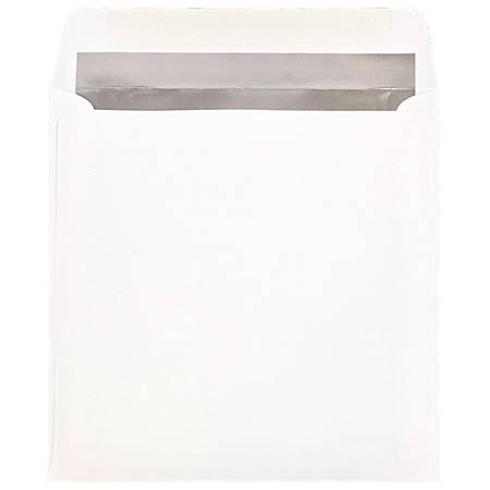 "JAM Paper® Foil-Lined Invitation Envelopes, 8 1/2"" x 8 1/2"", Silver/White, Pack Of 25"