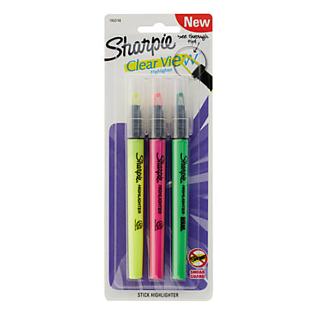 Sharpie® Clear View® Highlighter Stick, Chisel Point, Assorted Colors, Pack Of 3