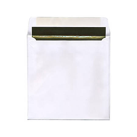 "JAM Paper® Foil-Lined Invitation Envelopes, 8 1/2"" x 8 1/2"", Gold/White, Pack Of 25"
