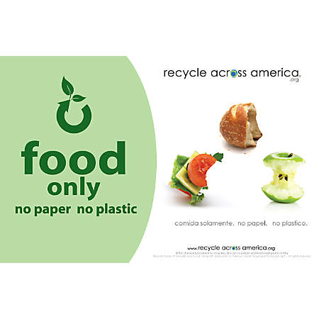 """Recycle Across America Food Standardized Recycling Label, FOOD-5585, 5 1/2"""" x 8 1/2"""", Light Green"""