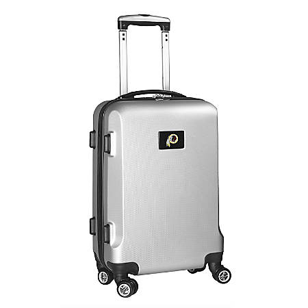 """Denco 2-In-1 Hard Case Rolling Carry-On Luggage, 21""""H x 13""""W x 9""""D, Washington Redskins, Silver"""