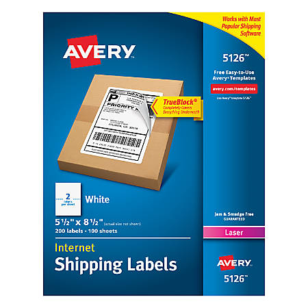 "Avery® TrueBlock® White Laser Shipping Labels, Internet, 5126, 5 1/2"" x 8 1/2"", Pack Of 200"