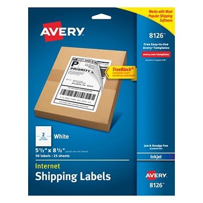 avery trueblock permanent inkjet shipping labels internet 8126 5 12