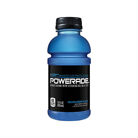POWERADE® Sports Drink, Mountain Berry Blast, 12 Oz, Pack Of 24