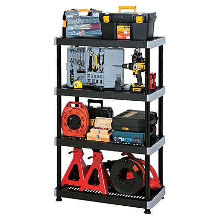 Rimax Heavy-Duty Storage Shelves, 4 Tiers, Black