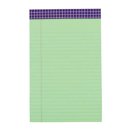 """Office Depot® Brand Fashion Legal Note Pad, 5"""" x 8"""", Narrow Rule, 100 Pages (50 Sheets), Purple Grid/Green"""