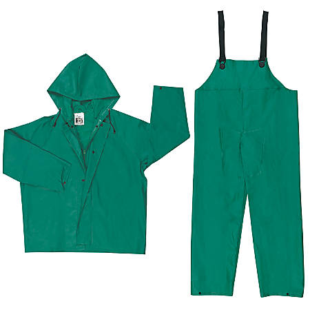 Two-Piece Rain Suit, Jacket w/Hood, Bib Pants, 0.42 mm PVC/Poly, Green, 3X-Large