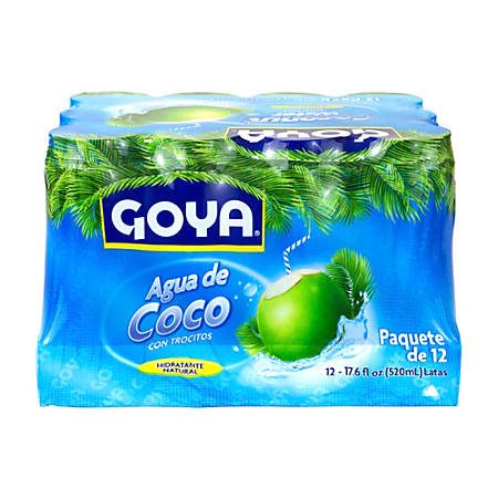 GOYA Coconut Water With Pulp, 17.6 Oz, Pack Of 12 Cans