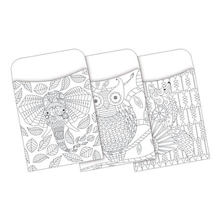 Barker Creek Peel & Stick Library Pockets, Color Me! Bohemian Animals, Pack Of 30