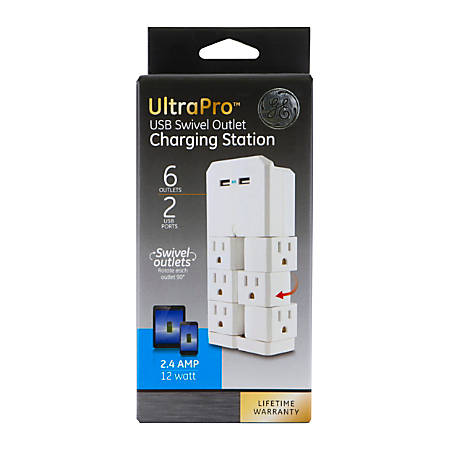 GE Ultra Pro 6-Outlet 2-USB Wall Tap, 37064