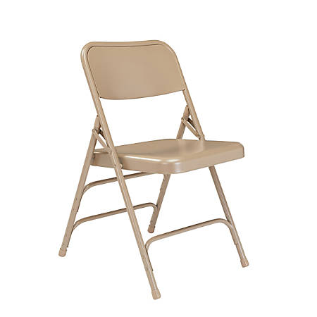 "National Public Seating Steel Triple Brace Folding Chairs, 29 1/2""H x 18 1/4""W x 20 1/4""D, Beige, Pack Of 104"