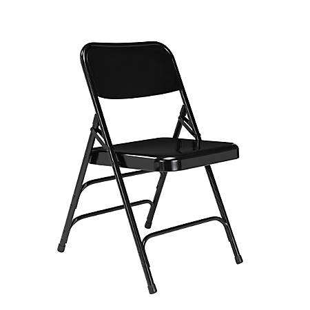 """National Public Seating Steel Triple Brace Folding Chairs, 29 1/2""""H x 18 1/4""""W x 20 1/4""""D, Black, Pack Of 4"""