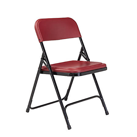 """National Public Seating Lightweight Plastic Folding Chairs, 29 3/4""""H x 18 3/4""""W x 20 3/4""""D, Burgundy/Black, Pack Of 40"""