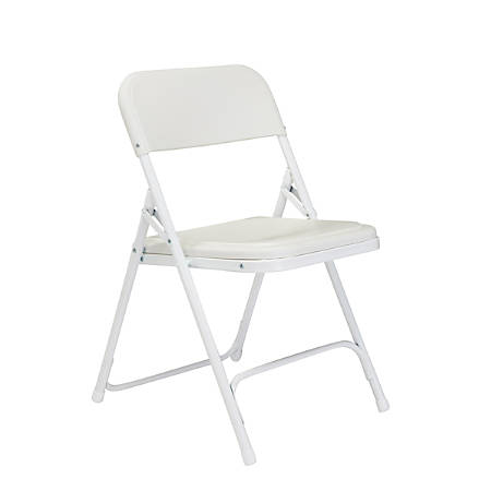 """National Public Seating Lightweight Plastic Folding Chairs, 29 3/4""""H x 18 3/4""""W x 20 3/4""""D, White, Pack Of 4"""