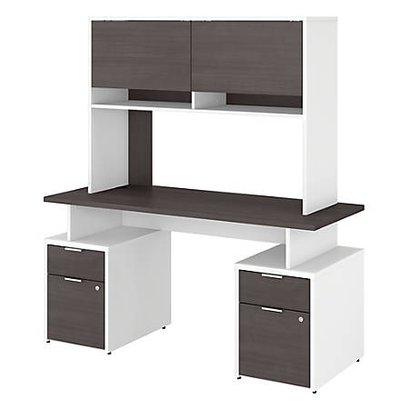 """Bush Business Furniture Jamestown Desk With 4 Drawers And Hutch, 60""""W, Storm Gray/White, Premium Installation"""