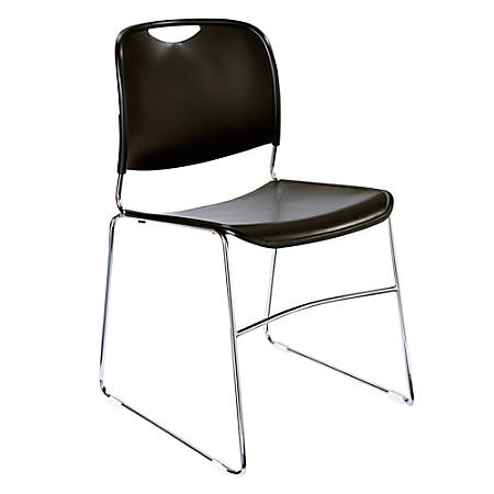 National Public Seating Hi-Tech Compact Stack Chair, Chrome/Black Pack Of 4