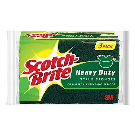 Scotch-Brite™ HD-3 Heavy-Duty Scrub Sponges, Green/Yellow, Pack Of 3