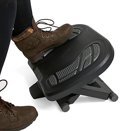 "Mind Reader Height-Adjustable Under Desk Footrest With Foot Prints, 3.82""H x 17.72""W x 13.23""D, Gray"