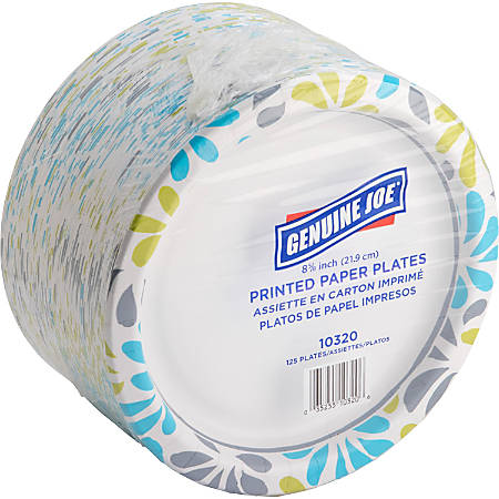 """Genuine Joe Printed Paper Plates - 9"""" Diameter Plate - Paper Plate - Disposable - Assorted - 125 Piece(s) / Pack"""