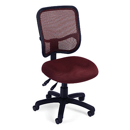 OFM Mesh Comfort Series Fabric Mid-Back Ergonomic Task Chair, Wine/Black