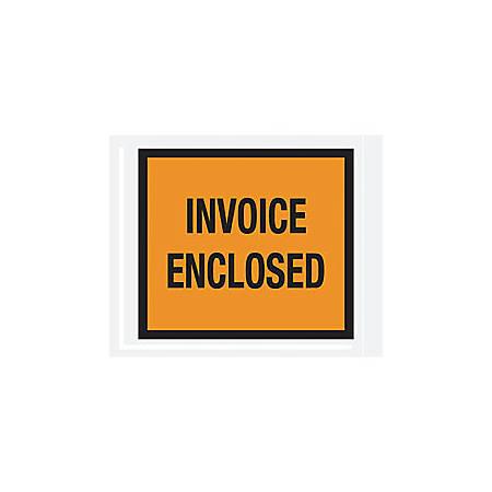 "Office Depot® Brand ""Invoice Enclosed"" Envelopes, Full Face, Orange, 4 1/2"" x 5 1/2"" Of 1,000"