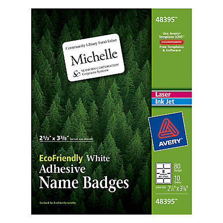 "Avery® EcoFriendly 100% Recycled Name Badges, 2 1/3"" x 3 3/8"", White, Pack Of 80"