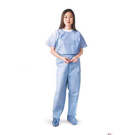 Medline Disposable Elastic-Waist Scrub Pants, X-Large, Blue, Case Of 30