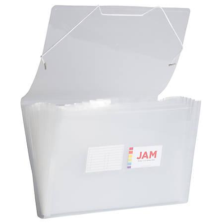 "JAM Paper® Legal Size Expanding File, 8"" Expansion, 8-1/2"" x 14"", Clear"