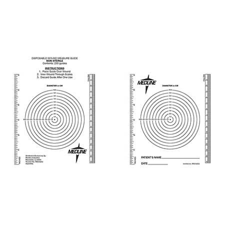 "Medline Latex-Free Wound Measuring Bull's–Eye/Ruler, 8 1/2"" x 6 1/2"", Black/Clear, Bag Of 250"