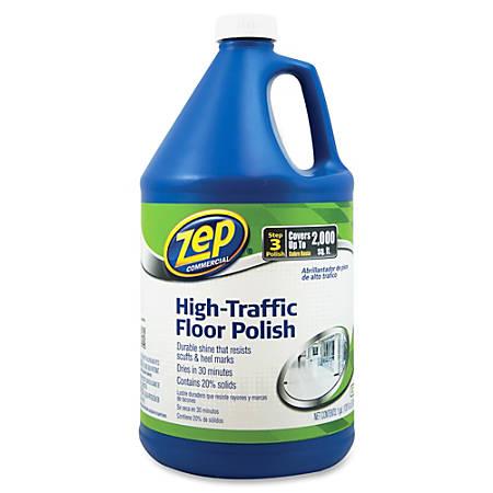 Zep Commercial High-Traffic Floor Finish - Liquid - 1 gal (128 fl oz) - 4 / Carton - Clear, Green