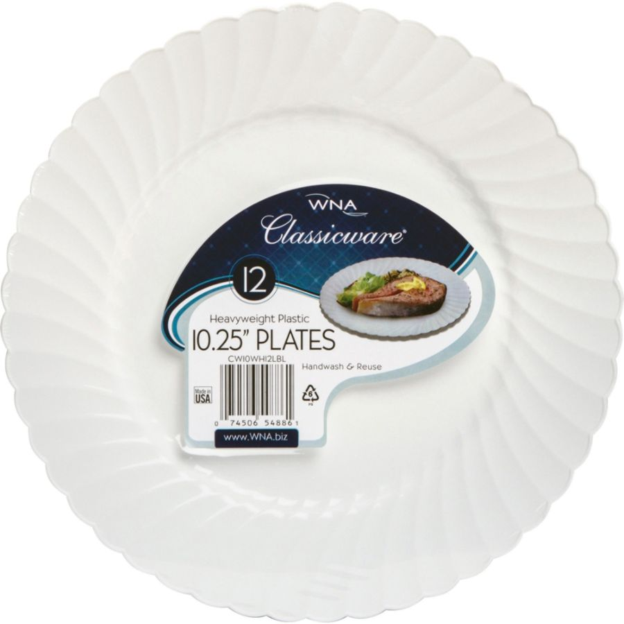 Classicware WNA Comet Heavyweight Plastic White Plates 10.25 Diameter Plate Polystyrene Plastic Disposable White 12 Pieces Pack by Office Depot u0026 OfficeMax  sc 1 st  Office Depot : heavyweight plastic plates - Pezcame.Com