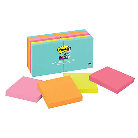 "Post-it® Notes Super Sticky Notes, 3"" x 3"", Miami, Pack Of 12 Pads"