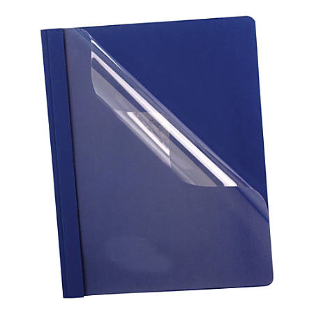 """Oxford™ Premium Clear Front Report Covers, 8 1/2"""" x 11"""", Dark Blue, Pack Of 25"""