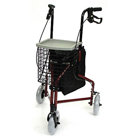 "DMI® 3-Wheel Aluminum Folding Rollator Walkers, 37""H x 20""W x 16""D, Burgundy, Pack Of 2"