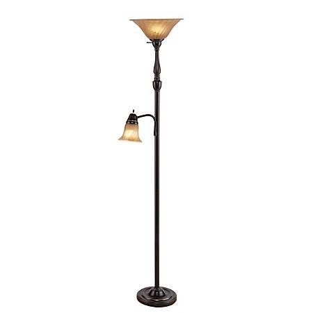 "Southern Enterprises Ferguson Floor Lamp, 71 1/2""H, Champagne Shade/Black Base"