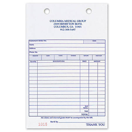 """Register Forms, Sales, 3-Part, 5 3/8"""" x 8 1/2"""", Box Of 250"""