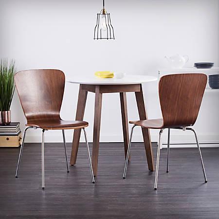 Holly & Martin Cadby Side Chairs, Walnut/Chrome, Set Of 2