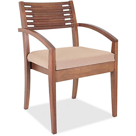 Lorell® Wood Guest Chair, Beige Fabric Seat/Walnut Frame, Set Of 2