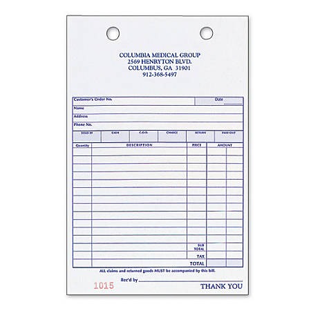 "Register Forms, Sales, 3-Part, 4"" x 6 1/2"", Box Of 250"
