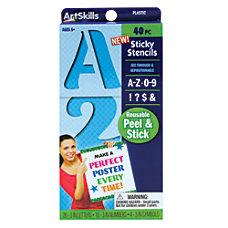 Artskills Sticky Stencils 3 NumbersLettersSymbols Blue