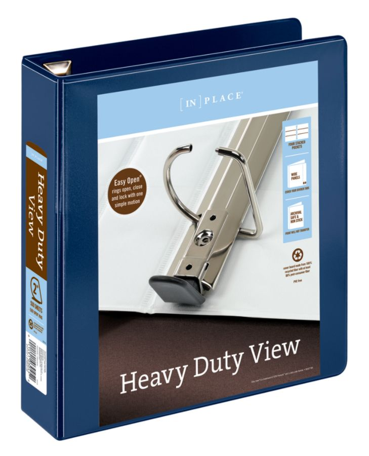 "Office Depot Brand Heavy-Duty 2"" D-Ring View Binder, Navy"