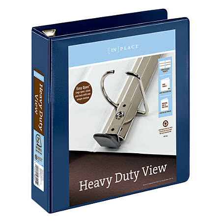 """Office Depot® Brand Heavy-Duty D-Ring View Binder, 2"""" Rings, 54% Recycled, Navy"""