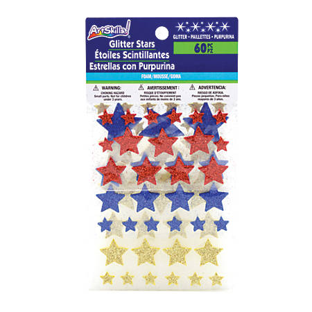 ArtSkills® Glitter Foam Stars, Multicolor, Pack Of 60