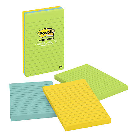 "Post-it® Notes, 4"" x 6"", Lined, Jaipur, Pack Of 3 Pads"
