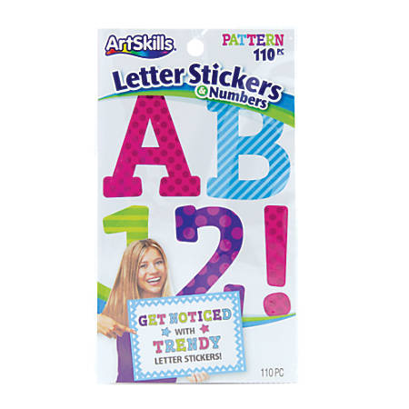 """ArtSkills® Alpha Letter/Number Stickers, 2 1/2"""", Assorted Colors, Pack Of 110"""