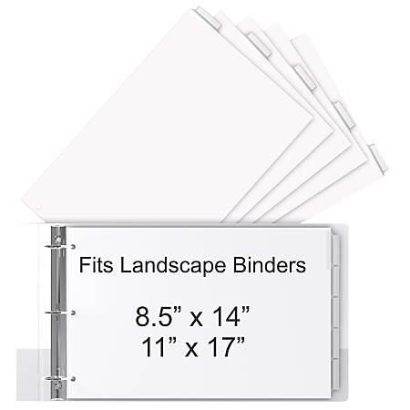 """Stride® 30% Recycled Tab Dividers For Ledger And Spreadsheet Binders, 8 1/2"""" x 14"""", Legal Landscape Size, White/Clear, Pack Of 5 Tabs"""